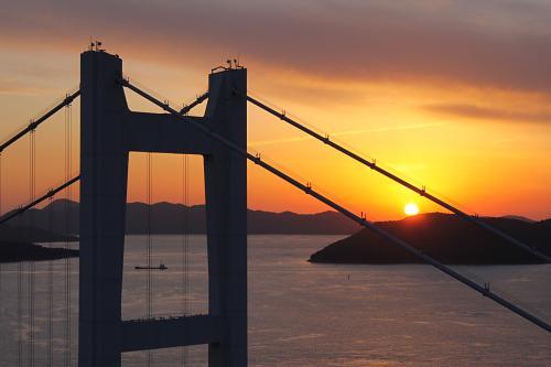 瀬戸大橋と夕日
