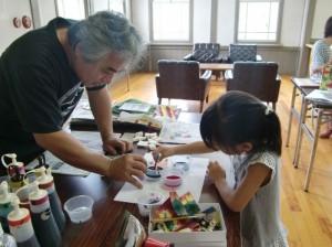 ハンコと染め紙の手作り体験
