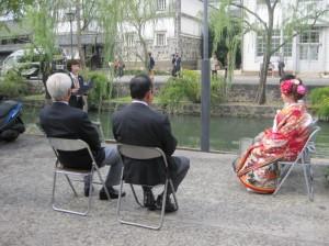 倉敷川で川舟の進水式が行なわれました