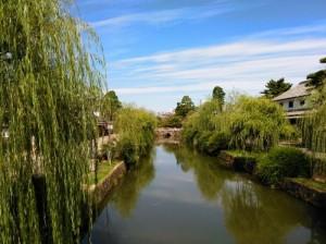 倉敷美観地区の柳の剪定と川掃除が行われました。