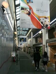 商店街を彩る大型写真と生け花