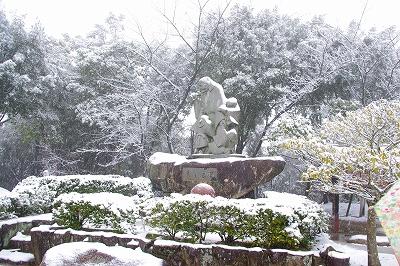 2年ぶりの雪、玉島円通寺も雪景色です。